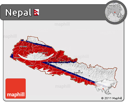 Free Flag 3D Map of Nepal