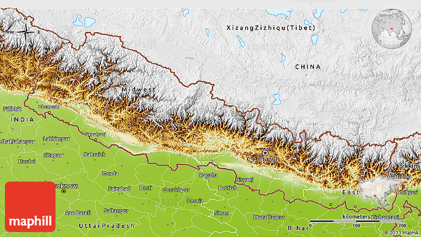 Physical D Map Of Nepal - Map of nepal