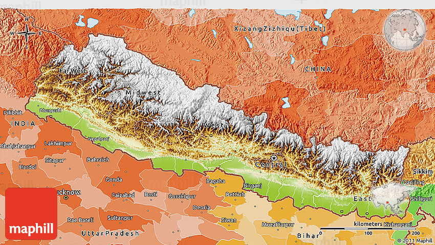 Physical 3D Map of Nepal political outside
