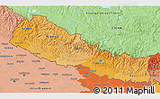 Political Shades 3D Map of Nepal