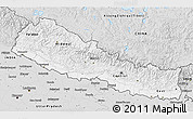 Silver Style 3D Map of Nepal