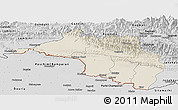 Shaded Relief Panoramic Map of Narayani, desaturated