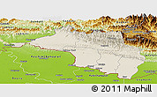 Shaded Relief Panoramic Map of Narayani, physical outside