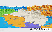 Shaded Relief Panoramic Map of Narayani, political outside