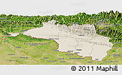 Shaded Relief Panoramic Map of Narayani, satellite outside