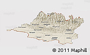 Shaded Relief Panoramic Map of Central, cropped outside