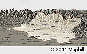 Shaded Relief Panoramic Map of Central, darken
