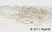 Shaded Relief Panoramic Map of Central, lighten