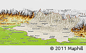 Shaded Relief Panoramic Map of Central, physical outside