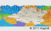 Shaded Relief Panoramic Map of Central, political outside