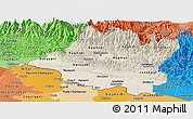 Shaded Relief Panoramic Map of Central, political shades outside