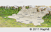 Shaded Relief Panoramic Map of Central, satellite outside