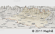 Shaded Relief Panoramic Map of Central, semi-desaturated