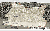 Shaded Relief Panoramic Map of East, darken