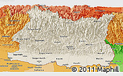 Shaded Relief Panoramic Map of East, political shades outside