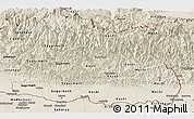 Shaded Relief Panoramic Map of East