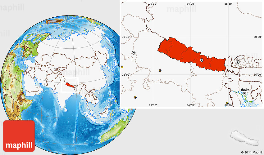 Physical Location Map Of Nepal Highlighted Continent - Nepal location
