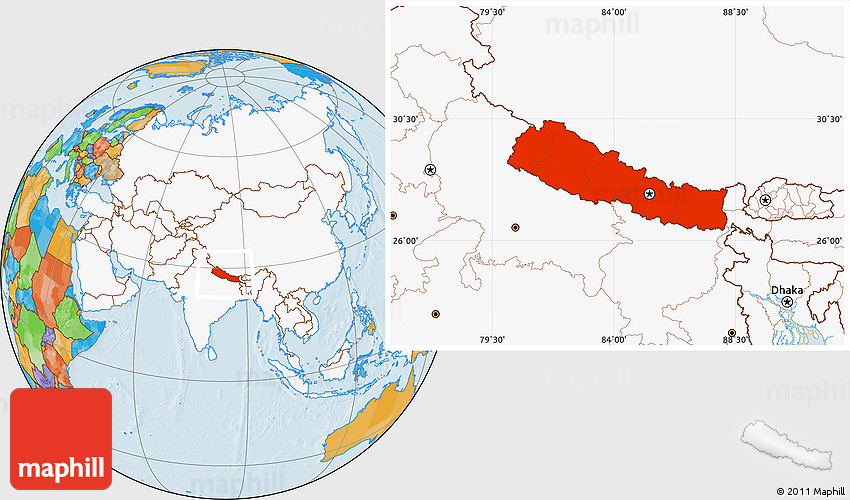 Political location map of nepal highlighted continent gumiabroncs Image collections