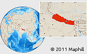Shaded Relief Location Map of Nepal