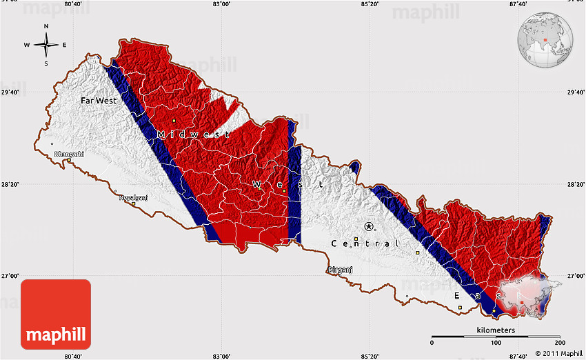 Flag Map of Nepal, flag aligned to the middle