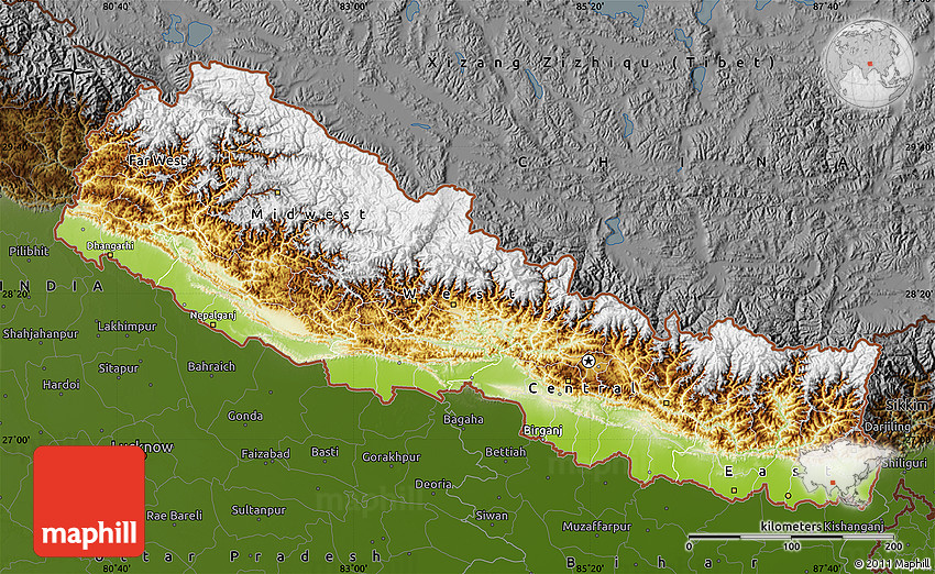 Physical Map of Nepal,...