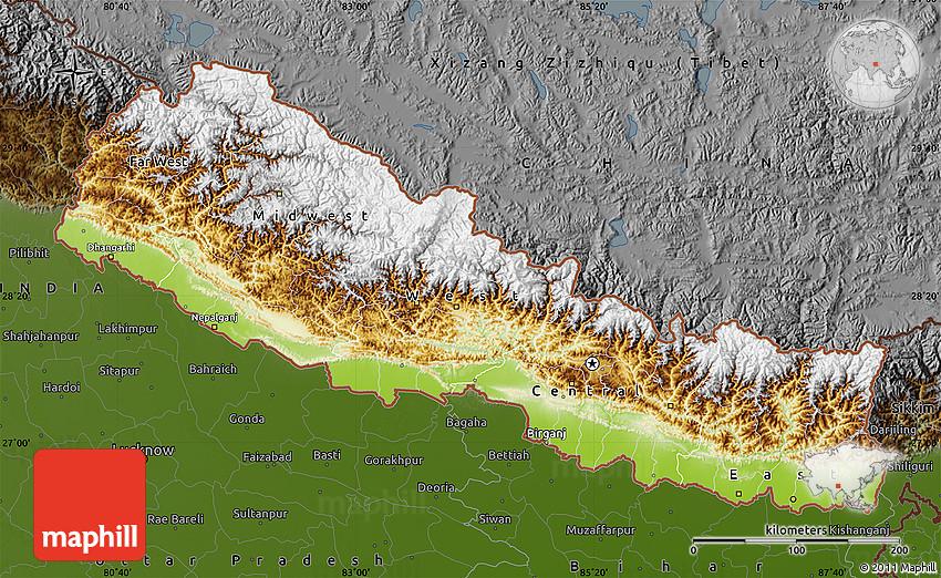 Physical Map of Nepal darken