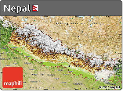 Free Physical Map of Nepal satellite outside