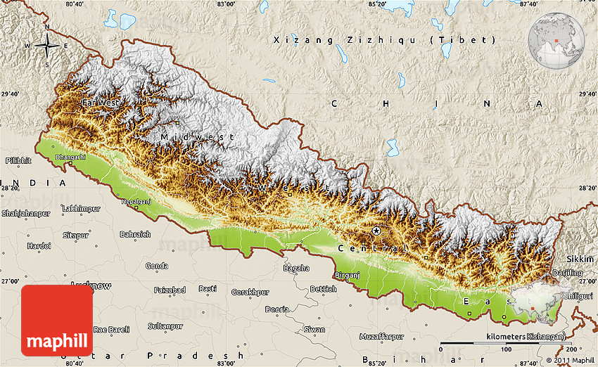 Physical Map Of Nepal Shaded Relief Outside - Nepal map