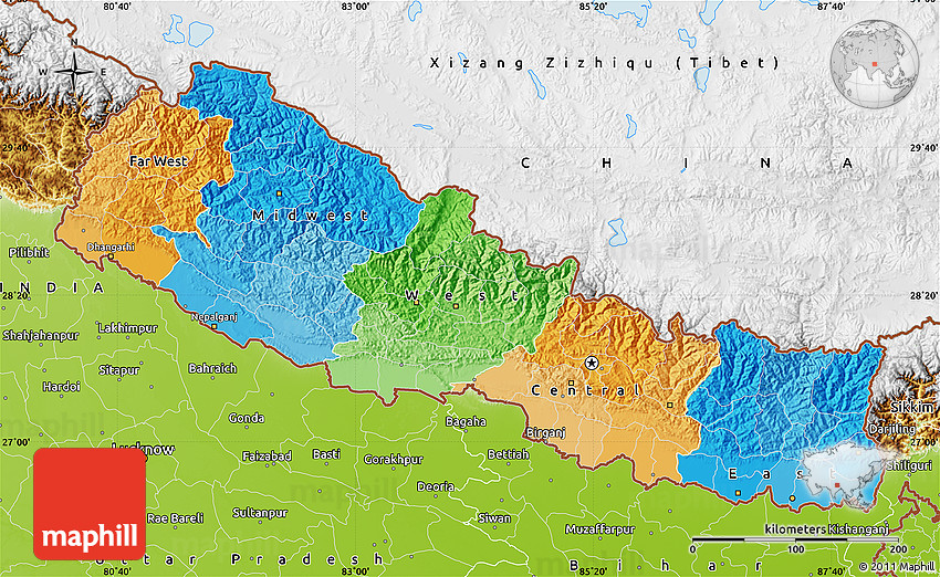 Political Map of Nepal physical outside
