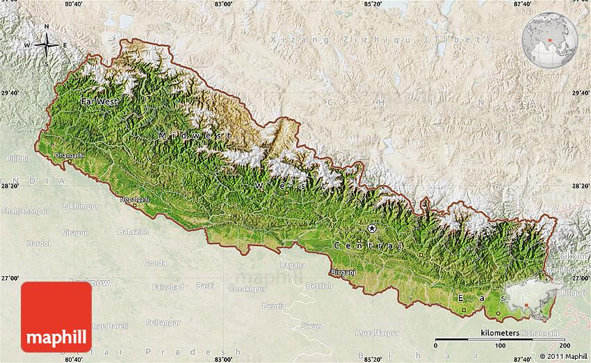 Satellite Map of Nepal lighten