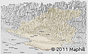 Shaded Relief Panoramic Map of Rapti, desaturated