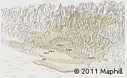 Shaded Relief Panoramic Map of Rapti, lighten