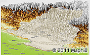 Shaded Relief Panoramic Map of Rapti, physical outside