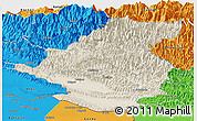 Shaded Relief Panoramic Map of Rapti, political outside