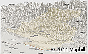 Shaded Relief Panoramic Map of Rapti, semi-desaturated
