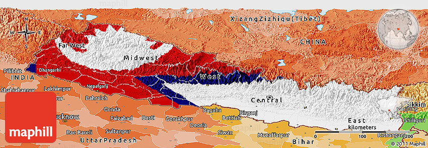 Flag panoramic map of nepal political outside flag centered 2d gumiabroncs Choice Image
