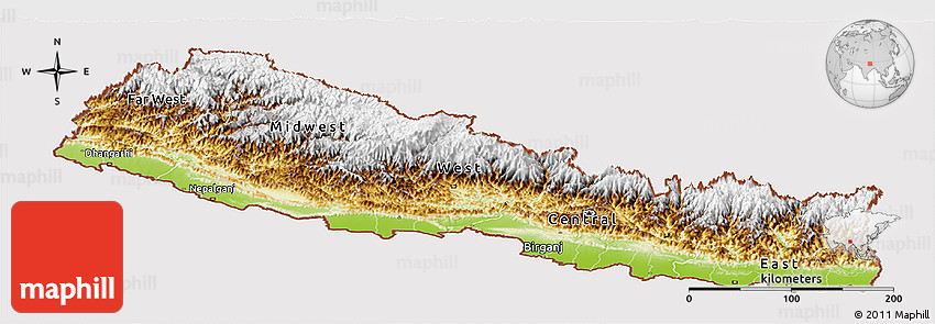 Physical Panoramic Map of Nepal cropped outside