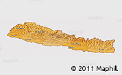 Political Shades Panoramic Map of Nepal, cropped outside