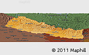 Political Shades Panoramic Map of Nepal, darken