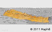 Political Shades Panoramic Map of Nepal, desaturated