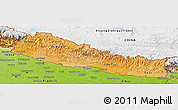 Political Shades Panoramic Map of Nepal, physical outside