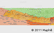Political Shades Panoramic Map of Nepal