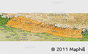 Political Shades Panoramic Map of Nepal, satellite outside