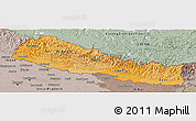 Political Shades Panoramic Map of Nepal, semi-desaturated