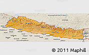 Political Shades Panoramic Map of Nepal, shaded relief outside