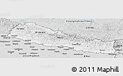Silver Style Panoramic Map of Nepal