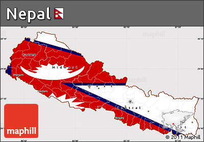 Flag Simple Map of Nepal
