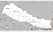 Gray Simple Map of Nepal