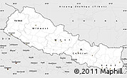 Silver Style Simple Map of Nepal