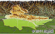 Physical 3D Map of Lumbini, darken